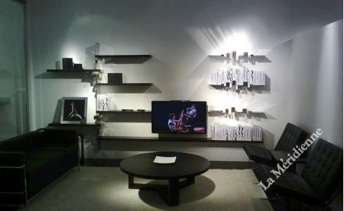 meuble biblioth que mural la meridienne d coration. Black Bedroom Furniture Sets. Home Design Ideas