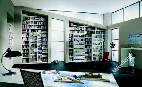 Meuble avec bibliothèque coulissante