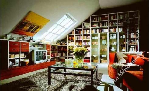 Meuble biblioth que sous toit en pente la meridienne for Meuble sous toit